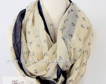 baby yellow anchor infinity scarf