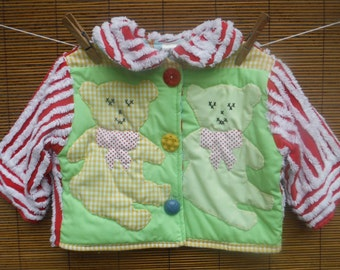 Size 6 Months Quilted Baby Jacket - 6 Months Red Chenille Jacket - 6 Months Vintage Quilted Coat - 6 Months Infant Girl Teddy Bear Jacket