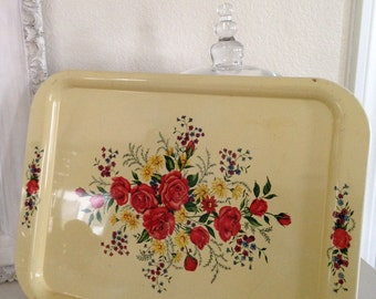 Yellow Serving or Display Tray with Red Roses