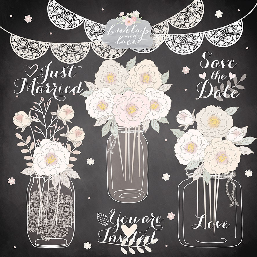 Flower Svg Library Download For Wedding Invitations: VECTOR Hand Draw Mason Jar Wedding Invitation Clipart Rustic