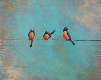 Birds on a wire, robins art, bird artwork, original abstract bird art, Original painting by Nancy Quiaoit at NancyQart