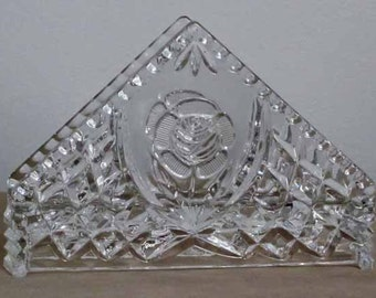 Sale Vintage Pressed Lead Crystal Clear Glass Footed Napkin Holder with Rose Design Clearance Sale