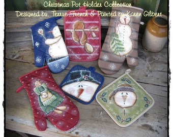 Christmas Pot Holder Collection by Karen Gilbert for Painting with Friends. E-Pattern
