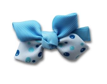 blue bow, blue hair bow, blue hair clip,  flower hair bow,  children's  hair clip, kids  accessories