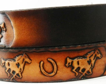 Child's Name Belt, NBTK646  Horse/Horseshoes