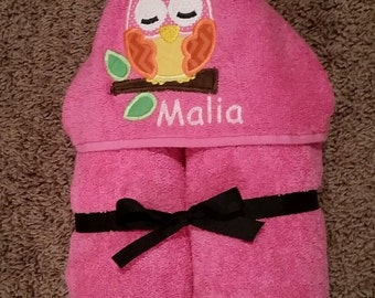 Personalized Owl on Branch Hooded Towel