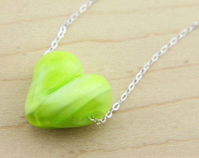 Pistachio Green/ heart pendant/ hand made/ sterling silver chain/ lamp work heart pendant by Destellos - Glass Art & Accessories