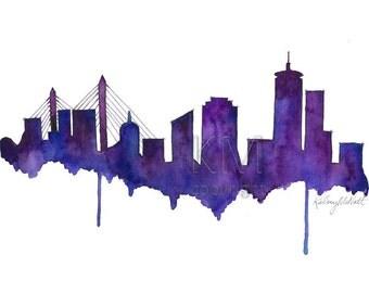 Watercolor Painting Print, Boston Skyline - Purple Home decor/Green home decor and scenic wall art