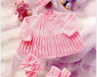 Knitting Pattern Baby Child coat  hat mits bootees  UKHKA 37 DK  12-18 inch  new