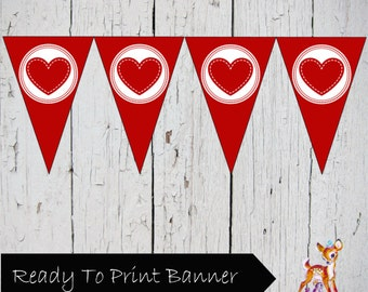 Valentine's Day Red Heart Printable Banner Bunting Sign Pennant
