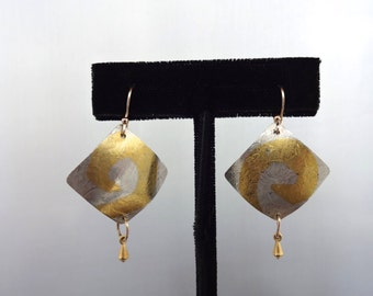 Sterling and Gold Keumboo Earrings with Gold Drops