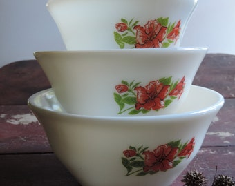 McKee Amarylis Milk Glass Nesting Bowls 1940's  Set of Three Vintage Salmon Floral Pattern Mixing Bowls Very Rare!!!