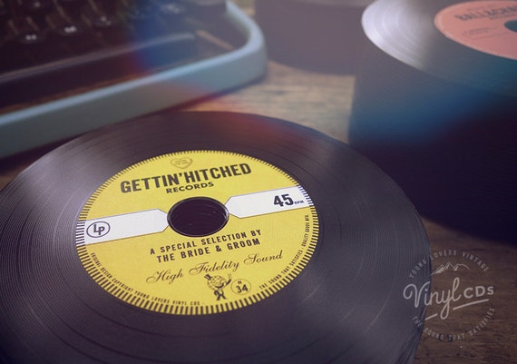 Vintage Wedding favor - Vinyl CD's // Gettin' Hitched Records - Yellow label