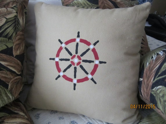 REDUCED!!! Nautical throw pillow with stenciled ship's wheel