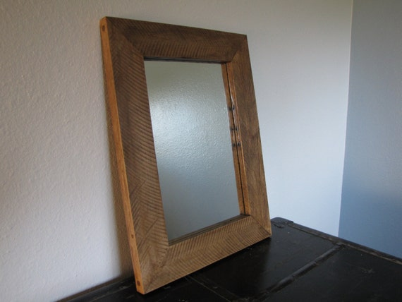 large rustic oak mirror frame handmade out of reclaimed wood