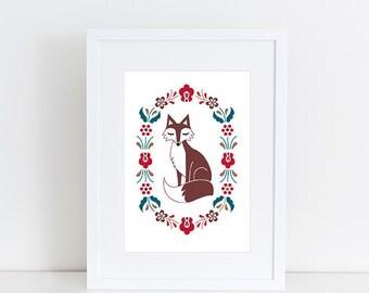 "Nordic Fox Rosemaling Print, 5"" x 7"""