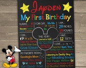 Mickey Mouse First Birthday Chalkboard, Mickey Mouse Chalkboard Sign, 1st Birthday Chalkboard, First Birthday Chalkboard Sign, Mickey Sign