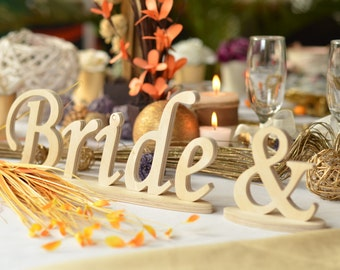 Merveilleux Bride U0026 Groom Sign Wedding Table Decoration, Freestanding Bride And Groom  Signs For Sweetheart Table
