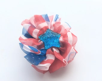 Girls Hair Clip for July 4th - Red White and Blue Patriotic Hair Clip Barrette for Girls - 4th of July Barrette Clip - Blue Star Hair Clip