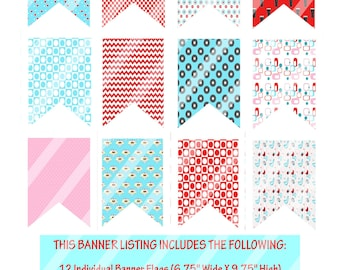 1950s Flag Banner, Printable 1950s Party, Red And Turquoise Banner, 1950s Birthday Party, DIY 50s Party, DIY Banner - By Printables 4 Less