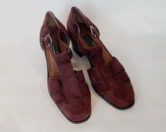 Size 8 Plum Coloured Suede Sandals