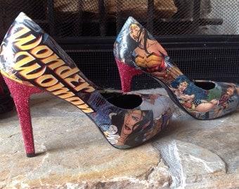 Wonder Woman Comic Heels with glitter