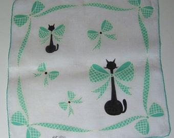 Vintage Designer Kit Ann Cats with Big Blue Bowties Hankie