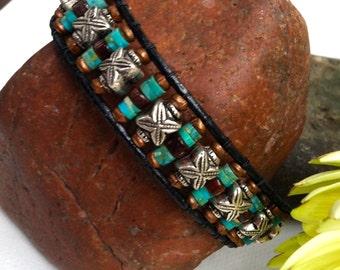 Men's Bracelet, Mens turquoise bracelet, men's leather bracelet, mens beaded bracelet, boyfriend bracelet, husband bracelet, gifts for him