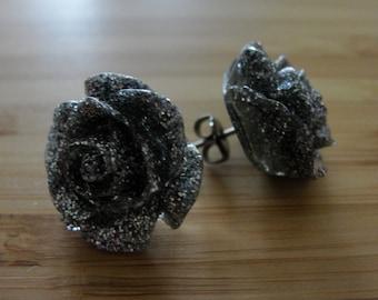 Large Silver Glitter Flower Earrings