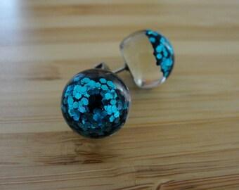 Aqua Glitter Earrings