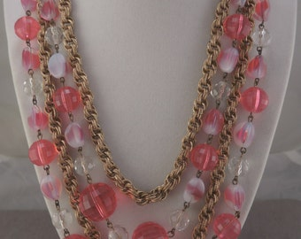 Gold Tone and Pink Plastic and Glass Bead Necklace 1970s