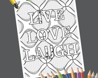 Popular Items For Grown Up Coloring On Etsy Live Laugh Coloring Pages