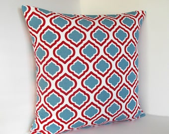 """Red and Aqua Moroccan print 16x16"""" pillow cover"""