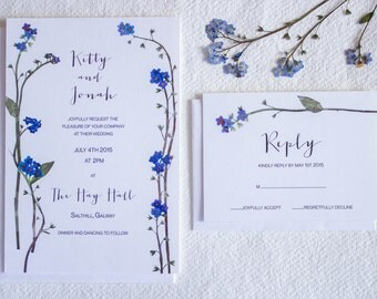 Luxe wedding invitation & RSVP with hand pressed forget-me-not wildflower design.