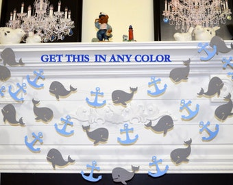 Exceptional WHALE Decorations, Whale Baby Shower, Whale Garland, Baby Boy Birthday,  Nautical Garland