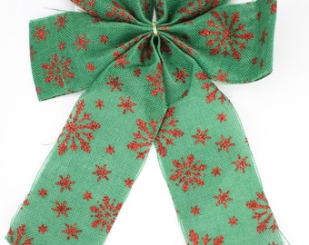 Green Faux Burlap / Jute Bows with wire with red glitter snowflakes (BRB32-xxG) Christmas decorations