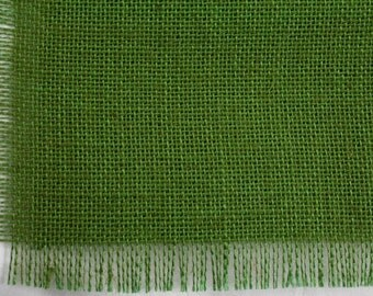 """Apple Green Burlap Table Runner 24""""x108"""" with fringe, fine weave, rustic country weddings, home decor.Available in other colors.(BF-L60)"""