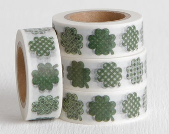 Four Leaf Clovers Washi Tape, Shamrock DIY St Patricks Day Card Idea 15mm x 10m