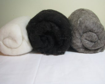 Carded British Jacob Batts. Black, Grey, or White. Spinning Wool / Core Wool / Felting Wool. 100/200g-3.52/7.04oz