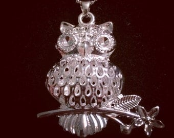 Sterling Silver Owl Pendant Necklace 22in Chain