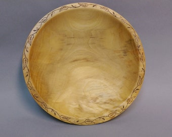 Figured Ash Wood Shallow Bowl with intricate wood burning