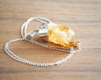 """Raw Citrine Gemstone Point Pendant - Silver Plated on 18"""" Sterling Silver Chain, Orange Stone Necklace"""