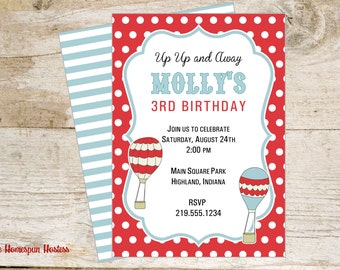 Hot Air Balloon Printable Invitation - Red and Blue