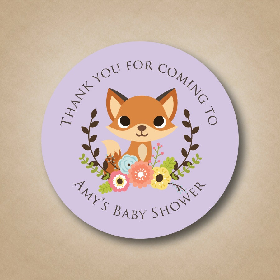 Baby Shower Stickers For Favors: Fox Baby Shower Favor Stickers Woodland Animals Baby Shower