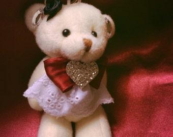Handcrafted Gothic Lolita Teddy Bear Keychain
