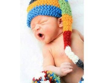 Crochet Striped Stocking Hat, Stocking Hat, Striped Hat, Baby Hat, Newborn Photography Prop, Photo Prop, Newborn Prop, Newborn Photography