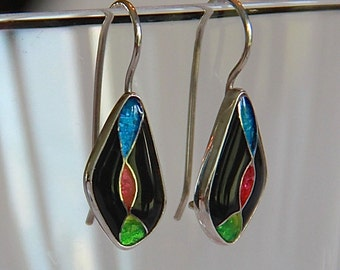 cloisonné enamel earrings - abstract neon