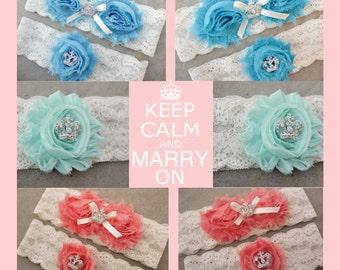 Unique Garter Set, Keep Calm and Marry On - Coral Garter, Mint Wedding Garters, Blue Garter w/ Mint Flowers, Wedding crown, Princess garter