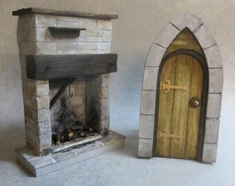 Dollhouse Miniature Fireplace & Gothic Door