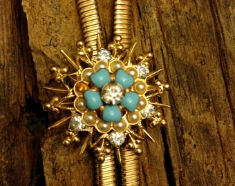 Vintage Early 1950s Coro Goldtone Bolo or Lariat Necklace with Faux Pearls , Rhinestones, and Turquoise